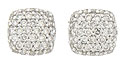 The surface of these dazzling 14K white gold earrings is frosted in .50 carat total weight of round faceted diamonds
