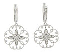 These antique style earrings are fashioned of 14K white gold and set with .25 carat of round faceted diamonds
