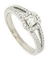 A dazzling .21 carat round faceted diamond sparkles from the center of this 14K white gold engagement ring