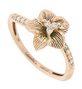 Five petals with engraved detailing cradle a trio of diamonds in the center of this 14K red gold antique style floral engagement ring