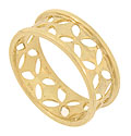 This elegant handcrafted 14K yellow gold wedding band is decorated with a pierced open work design