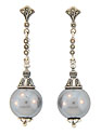 These sterling silver earrings and marcasite earrings feature a luminous gray faux pearl