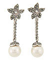 Flower designs grace the tops of these sterling silver, marcasite and faux pearl earrings
