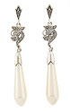 These sterling silver and marcasite drop earrings feature elegant elongated faux pearls