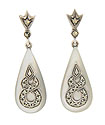 These bridal earrings feature mother-of-pearl teardrops dangling from sterling silver posts and decorated with faceted marcasite