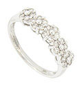 Five honeycomb clusters of diamonds ornament the top of this 14K white gold antique style wedding band