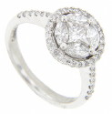Four marquis cut diamonds frame a single round diamond on this 14K white gold antique style engagement ring
