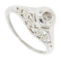 Smooth curves decorate this antique style 14K white gold ring