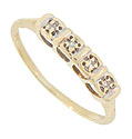 This 14K yellow gold estate wedding band is set with four faceted diamonds