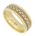 This handsome 14K bi-color vintage wedding band is a contrast of form and color