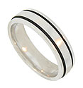 This handsome 14K white gold mens wedding band features a modern machine lathed appearance