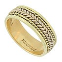 This exceptional 14K bi-color mens wedding band features a yellow gold band with deep set braids of yellow and white gold