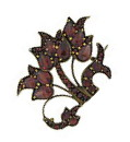 This breathtaking antique floral inspired pin is set with rich hued tablecut and pear shaped garnets