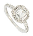This spectacular 14K white gold engagement ring features a dazzling .72 carat, F color, VVs2 clarity radiant cut diamond
