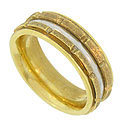 This handsome wedding band is crafted of 18K yellow gold and platinum