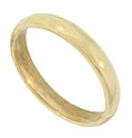 This classic 10K yellow gold estate wedding band is brightly polished and measures 4.05 mm in width