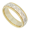 This handsome 14K bi-color wedding band features a central band of white gold engraved with a squared off woven design