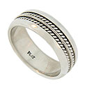 This antique style platinum mens wedding band is adorned with an elevated milgrain decoration framed on either side by twisting ropes of metal