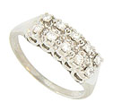 Two sparkling rows of fine faceted diamonds stretch across the face of this phenomenal 14K white gold wedding band