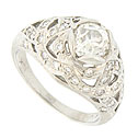 This spectacular antique platinum engagement ring is set with a dazzling .95 carat, H color, Si2 carat round cut diamond