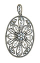 This lovely antique style sterling silver pendant-pin is fashioned as a floral filigree pendant frosted with luminous seed pearls