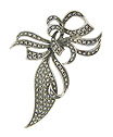 This spectacular antique style sterling silver pin is fashioned as a flowing organic ribbon frosted with sparkling marcasite