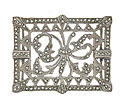 This phenomenal antique style sterling silver pin features an elegant lacework design
