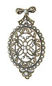 A delicate floral filigree decorates the surface of this antique style sterling silver pendant