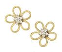 These flirty 14K yellow gold earrings feature a bold floral design with a center of sparkling faceted diamonds