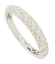 This dazzling 14K white gold antique style wedding band is decorated with horizontal rows of fine faceted diamonds