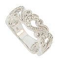 Lacy curling ferns cover three quarters of this 14K white gold antique style floral wedding band