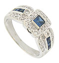 This stunning 14K white gold antique style engagement ring features a square cut sapphire surrounded by a frame of round cut diamonds