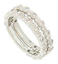 Each of these 14K white gold stackable wedding bands holds .23 carats total weight of diamonds