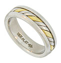 This handsome platinum and 18K yellow gold mens estate wedding band features a twisting central ribbon of platinum and yellow gold