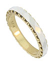 This handsome 14K bi-color estate wedding band features a bold faceted white gold ribbon