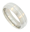 Florentine finished edges frame a deep center groove on this modern men's 14K white gold wedding band