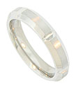 The rough textured surface of this 14K white gold mens wedding band is angle carved to reveal a bright polished core