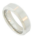 Angled edges set this 14K white gold antique style men's wedding ring apart from the others