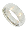 This 14K white gold mens wedding band features a hammered surface