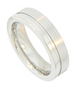 This 14K white gold mens wedding band features a satin finish, carved with a single stripe set off center