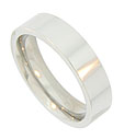 This classic 14K white gold mens wedding band is a brightly polished wide ring with flat edges