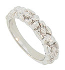 Glorious flowers in full bloom create the face of this bright 14K white gold antique style wedding band