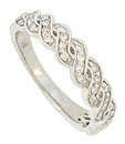 A pair of diamond frosted vines wind across the face of this 14K white gold wedding band