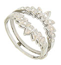 Round cut diamonds (eighteen in total) form sparkling bursts of light on this vintage 14K white gold engagement ring bracket