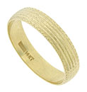 This handsome 14K yellow gold estate wedding band has deeply impressed ridges etched with fine engraving