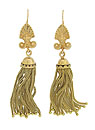 These exquisite 14K yellow gold chandelier style earrings are a combination of antique and antique style components