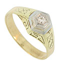 This 14K yellow gold engagement ring is adorned with simple abstract engraving