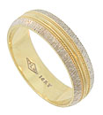 This handsome estate wedding band is crafted of 14K yellow gold