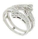Abstract floral figures form diamond encrusted bands on the face of this vintage 14K white gold engagement ring bracket
