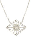 This romantic 14K white gold pendant features a diamond encrusted flower adorned with sprouting vines